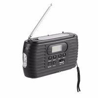 прохладный свет в холле оптовых-Солнечное Emergency радио с руками сгибая AM / FM радио и музыкальный плеер фонарик с 3 светодиодов Q0840
