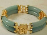 Wholesale chinese men bracelet resale online - GREEN CHINESE stone BEAD BRACELET wind Bangle wide quot Girl Woman MEN Quartz jewelry