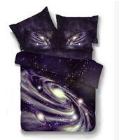 ingrosso set di lenzuolo 3d-Set biancheria da letto in poliestere 3D Galaxy Star Cielo stellato Universo Design completo King Lenzuolo Federa Copripiumino Set biancheria da letto