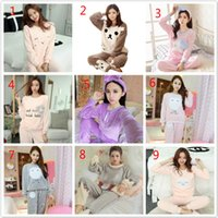 Autumn and winter flannel ladies pajamas long sleeves winter thick coral  fleece cute head home service suit Korean version 03ba02e59