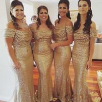 платье подружки невесты из золота русалки оптовых-Золотые Sequined Mermaid невеста платье Off плеча Country Style Wedding Guest платье длинного платья де красавки Легион Дешевые платья