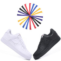 Wholesale low stickers - AF120 Force Low Classic Skateboarding Shoes 6 colors Magic Sticker Fashion Force Designer White Black Mens Womens Casual Shoes Boxed