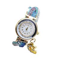 bracelet en diamant couleur achat en gros de-Mesdames Montre Full Diamond Trois couleurs enroulement ceinture Lune pendentif luxe marque bracelet montre pour les femmes reloj mujer