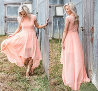 Wholesale chiffon hi lo beach wedding dresses for sale - Group buy Peach Bridesmaid Dresses High Cap Sleeve Lace Applique Hollow Back High Low Chiffon A Line Bohemian Beach Country Wedding Guest Gowns