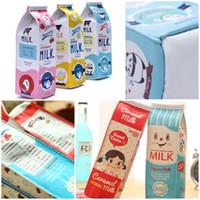 almacenamiento de lápices para niños al por mayor-Lindo Corea Kawaii Maquillaje Bolsas Pu Leather Milk Box Pen Pencil Case Storage Organizador Bolsa Niños Regalos