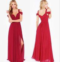resmi uzun gelinlik elbiseleri toptan satış-Uzun Gelinlik Modelleri V Boyun Lace Up Geri Bölünmüş Bir Çizgi kat Uzunluk Örgün Hizmetçi Onur Ucuz Plaj Düğün Elbiseleri
