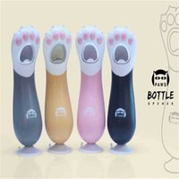 Wholesale Wholesale Beer Gadgets - Lovely Cat Claw Shaped Corkscrew Fashion Hand Beer Bottle Opener Multi Color Kitchen Gadget Bar Tools 9yd C R