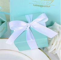 ingrosso farfalla caramella blu-40pcs / lot Matrimonio romantico favori Decorazione Farfalla fai da te Candy Cookie Scatole regalo Festa di nozze Candy Box con nastro Tiffany Blue