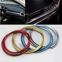 Wholesale decorative chrome trim - 5m Package Car Interior Decorative 3D Auto Brand Thread Stickers Decals Chrome Styling Trim Strip Car-Styling Decoration WX9-726