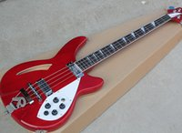 Wholesale customize bass guitar online - Red Strings Electric Bass Guitar with Pickups Chrome Hardwares White Pickguard R Tailpiece offering customized services