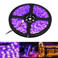 tiras de luz led púrpura impermeable al por mayor-Impermeable 5 M 60 LED / M 3528 SMD UV Led Luz de la tira Lámpara Ultravioleta Púrpura Luz DC 12V Flexiable Lámpara de la cinta