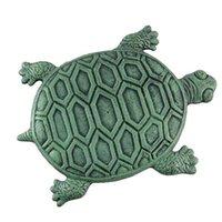 ingrosso pietre decorative da giardino-33.5 * 22 cm Ferro Verdigris Garden Turtle Stepping Stone Decorazioni da Giardino Giardino Sculture Pietre Decorative CCA9775 50 pz