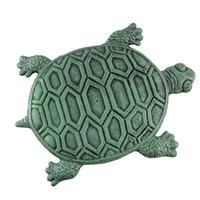 ingrosso giardini in pietra decorativa-33.5 * 22 cm Iron Verdigris Garden Turtle Stepping Stone Decorazioni da Giardino Giardino Sculture Pietre Decorative CCA9775 50 pz