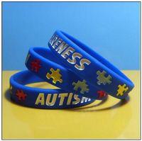 autismus-bewusstseinsarmbänder großhandel-Autism Awareness Silikon Armband Gummi Armbänder Tinte gefüllt Silikon Armbänder Armbänder für Geschenke Kinder Erwachsene Schmuck CCA9196 500 Stücke