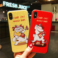 Wholesale Cat Cell Case - For iphone X cell phone case with iphone 8 7plus 6 6s case Cartoon cat Silicone TPU protective shell factory wholesale price free shipping.