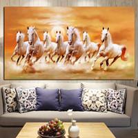 pintura al óleo lienzo caballo blanco al por mayor-Tamaño grande HD Imprimir Animales Artísticos Siete Corriendo Caballo Blanco Pintura Al Óleo sobre Lienzo Moderna Pintura de Pared Para la Sala Cuadros