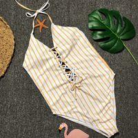 traje de baño amarillo de una pieza para mujer al por mayor-Traje de baño Traje de baño Lady Woman Bikini Femme Trajes de una pieza Traje de triángulo de rayas amarillas Vendaje atractivo sin respaldo de una niña 30cs V
