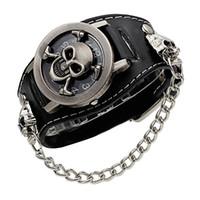 ingrosso orologio da polso nero-cover stereoscopic hollow Black Punk Rock Chain Skull Skeleton Orologi Uomo Donna Bracciale Cuff Gothic Orologio da polso Orologio da polso in pelle