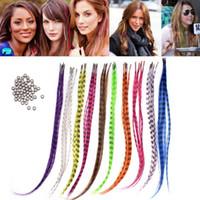 ingrosso piume di capelli diy-50pcs 15-16 pollici dritto piuma sintetica multicolore per estensioni dei capelli accessori per abbigliamento per feste decorazione artigianale fai da te