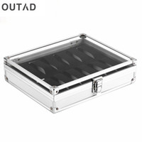 Wholesale Aluminium Squares - OUTAD 12 Grid Slots Jewelry Casket Watch Boxes Display Storager Square Box Case Aluminium Suede Inside Container relogio