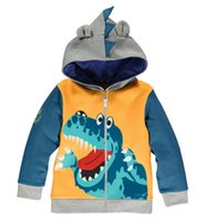 sudaderas de dinosaurio al por mayor-2018 Spring New Children Sweatshirt Coat Baby Boys Clothing Crocodile Dinosaur Zipper Chaqueta con capucha Animal Modeling