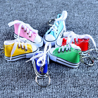 Wholesale mini tennis keychain - Fashion Cute Sport Shoes Keyring Mini 3D Sneaker Canvas Shoes Keychain Tennis Shoe Chucks For Unisex Jewelry