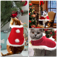 Wholesale Christmas party Pet Cloak kitty costume cat Shawl Cloak cat Santa Claus Soft Thick Fabric Pet Dress up for Puppy Kitten Small Pet