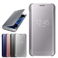 Wholesale leather smart phone wallet resale online - For Samsung Galaxy J330 J530 J730 J3 J5 J7 Phone Case Smart View Mirror Flip Leather Case for Samsung A8 A5 A7