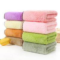 roupão de banho rosa roxo venda por atacado-2018 Novo Toalha de Banho 30x30 cm Coral Velo Macio Limpar Lavar Face Quadrado Para Crianças