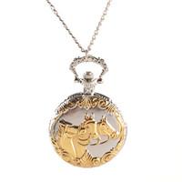 silber antike uhren frauen großhandel-Antique Silver Golden Carved Horse Steampunk Quarz Taschenuhr Männer Frauen Halskette Anhänger mit Kette Männlich Clock Geschenk