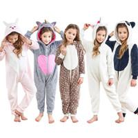 çocuklar onesie toptan satış-5 stilleri Çocuklar Unicorn Onesie Unisex Çocuk Cadılar Bayramı Kostüm Hoodie Pijama Karikatür Tavşan Panda Noel Elk Tek Parça Gecelik Tulum FFA862