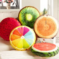 Wholesale car quilts online - 3D Summer Fruit Office Chair Back Car Round Decorative Cushion Quilt Sofa Throw Pillows Home Decor Stuffed Toys Christmas Gift