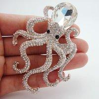 kristall roségold brosche großhandel-Brosche Pins Classic verzierten Octopus weißen Kristall Strass Rose Gold Tone Anhänger Brosche Pins Sehr schöne, einzigartige Mädchen