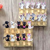 Wholesale diy cat bag - 10pcs Japanese cat wooden clips with hemp rope Mini nice Food clip Kawaii wood paper clip for bag Students' DIY tools