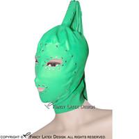 глаза пони оптовых-Нефрит зеленый сексуальный латекс капюшоны с заклепками хвост парик волос Zip обратно открытые глаза ноздри рот хвост пони резиновые маски TT-0190