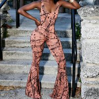 Wholesale nightclub drapes - The New Pattern Fashion flared jumpsuits Nightclub large size sexy Suspenders Printed Oversized Jumpsuits elegant
