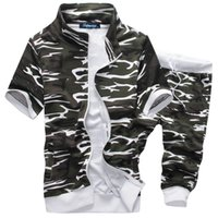 envío de ropa deportiva al por mayor-Los hombres del verano de manga corta de los nuevos hombres calientes sudaderas con capucha Traje Casual Set hombres ropa deportiva M-XXL Envío de la gota