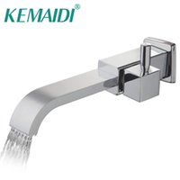 смесители для латунных сосудов оптовых-KEMAIDI Solid Brass Bath Basin Faucet torneira Bathroom Bathtub Faucet Waterfall Spout Vessel Vanity Taps Bathroom Faucets Tap