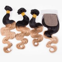 Wholesale honey brown hair weave for sale - Body Wave B Light Brown Ombre Brazilian Human Hair Bundles with x4 Silk Base Lace Closure Black and Honey Blonde Ombre Weaves