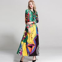 Wholesale color block maxi - 2018 Women's Turn Down Collar Long Sleeves Printed Color Block Fashion Elegant Maxi Designer Runway Dresses Summer Dresses