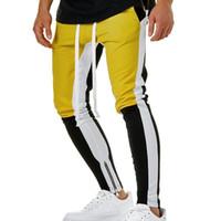 ingrosso tasca della caviglia-Pantaloni con cinturino con cerniera 4 colori Cinturino in vita con bande laterali Tasche con zip a contrasto Colore Pantaloni retrò Pantaloni da jogging