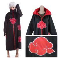 Wholesale naruto akatsuki cosplay cloak - Hot Sale Anime Naruto Akatsuki Cloak Cosplay Costume Halloween Christmas Party Cloak Cape Unisex