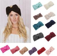 kız tığ işi toptan satış-Kadın Lady Moda Tığ Büyük Yay Düğüm Türban Örme Başkanı Wrap Hairband Kış Kulak Isıtıcı Kafa Saç Bandı Kız Saç Aksesuarları Için
