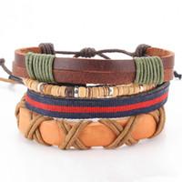 Wholesale beads bracelet for men brown resale online - DIEZI Vintage Brown Leather Beads Wrap Bracelet Jewelry Wristband Statement Bracelet for Women Men New Fashion Punk Jewelry