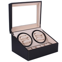 montres enrouleur achat en gros de-Remontage automatique de montres en cuir PU noir Boîte de rangement en cuir Collection Montre Montre Bijoux US Plug Winder Box