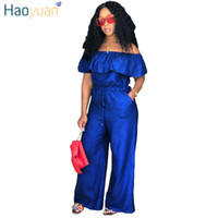 2d0e7606f469 HAOYUAN Sexy Denim Jumpsuit 2018 Streetwear Off Shoulder Jean Overalls One  Piece Backless Casual Loose Rompers Womens Jumpsuit