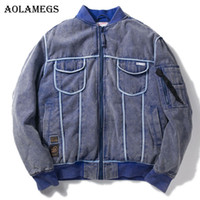 Wholesale Mens Cotton Washed Jackets - Aolamegs Parka Men Retro Heavy Wash Denim Thick Mens Winter Jackets Mens Down Jacket Stand Collar Windproof Coat Winter