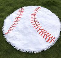 Wholesale Table Cloth Tassel - 150cm Baseball Softball Tapestry Beach Towel Round blanket with Tassel Fringing Beach Throw round Sports Yoga Mat Table Cloth 30pcs