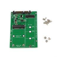 msata mini toptan satış-M.2 NGFF SSD SATA III SATA3 Dönüştürücü Msata / NGFF SSD Sata Adaptörü Destek mSATA + M.2 NGFF SSD QJY99