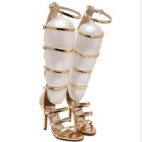 Rome Sandals Women Knee High Cool Boots Sexy Buckle High Heels Clubwear  Party Stiletto Shoes Gladiator Sandals Woman fc99fd022749